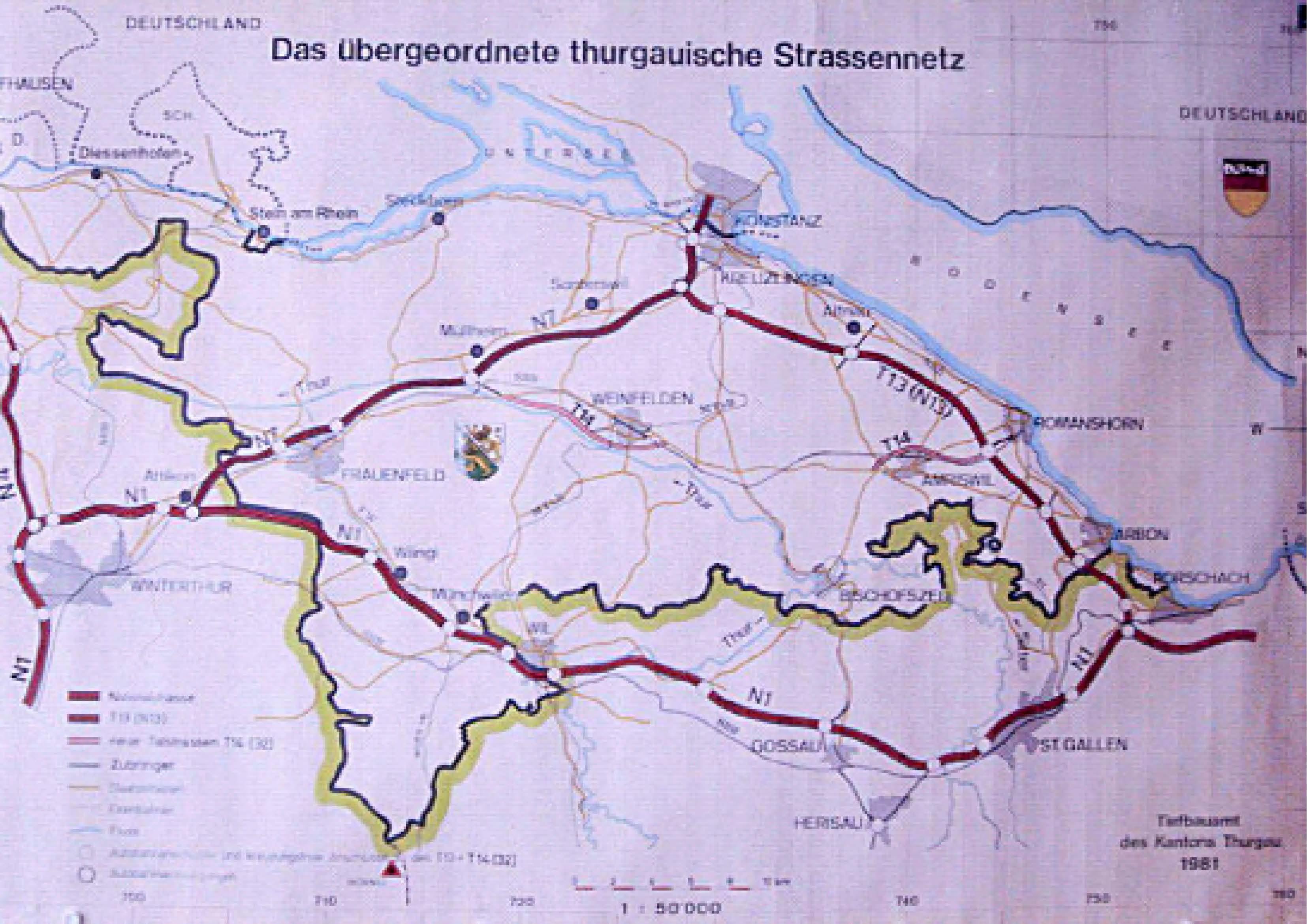 Strassennetz Kanton Thurgau 1981